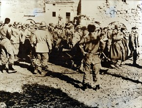 Moroccan Tirailleurs capture a troop of German soldiers, Cardito, Italy, c1944. Artist: Unknown