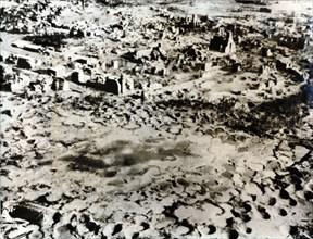 Rhine village destroyed by bombardment, c1940. Artist: Unknown