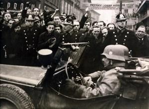 German troops enter Prague, 15th March 1939. Artist: Unknown