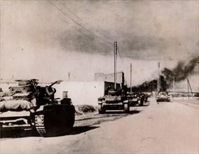 German panzers driving into Tebourba, Tunisia, 1942. Artist: Unknown