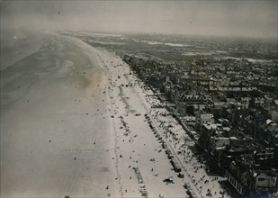 Aerial view of the beaches of Dunkirk during the 10th anniversary ceremonies, June 1950. Artist: Unknown