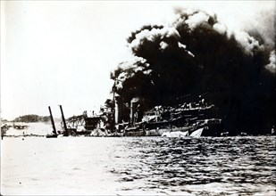 USS Shaw, attack on Pearl Harbor, December 7th, 1941. Artist: Unknown