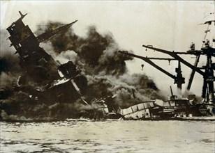USS Arizona, attack on Pearl Harbor, December 7th, 1941. Artist: Unknown
