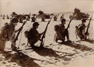 Australian troops wait to attack Bardia, May 1941. Artist: Unknown