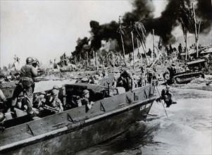 Australian troops landing on Balikpapan, 1945. Artist: Unknown