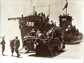 American troops disembark, Invasion of Sicily, July 1943. Artist: Unknown