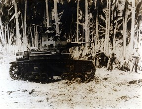 An American tank in the jungle of the Solomon Islands, September 1942. Artist: Unknown
