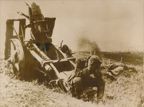 A destroyed German artillery piece. Artist: Unknown