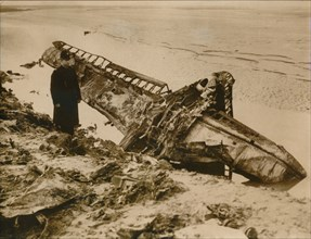 A German aircraft shot down on the English coast, c1939-c1945. Artist: Unknown