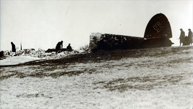A German bomber shot down on the English coast. Artist: Unknown