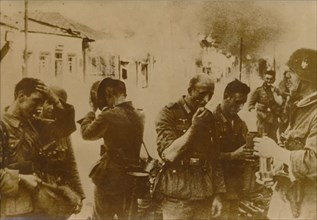German troops take a break from the battle in Vitebsk, a city in Belarus, May 1944. Artist: Unknown