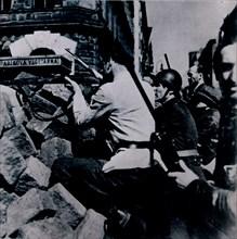 Street fighting in Prague, 1945. Artist: Unknown