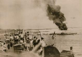 First German ship arrives at Tobruk Harbour, April 1941. Artist: Unknown