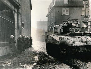 French troops take cover in Colmar, France, c.1940s. Artist: Unknown