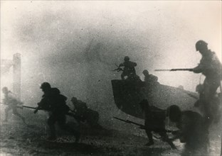 Japanese troops land near Hong kong, 1941. Artist: Unknown