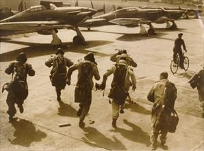 Pilots running to their aircraft, Battle of Britain, 1940. Artist: Unknown