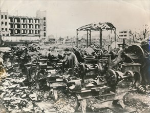 The ruins of Tokyo after American B-29 'firebombing', March 1945. Artist: Unknown
