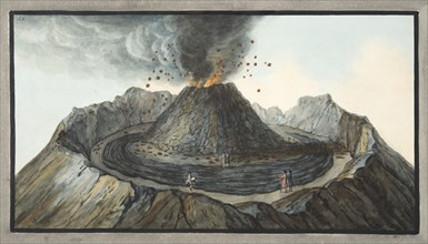Interior view of the Crater of Mount Vesuvius, as it was before the great eruption of 1767, 1776.