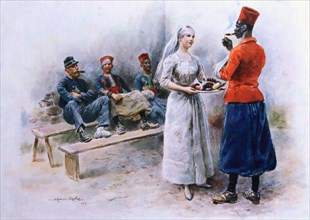 The Favourite Nurse with Zouaves and Soldiers during WWI, 1915 (Colour Lithograph)