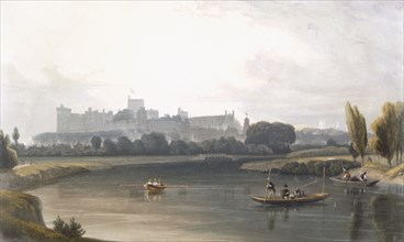 Windsor Castle from the River Thames: a West view, and fishing from punts, c1827-30. Creator: William Daniell (1769-1837).