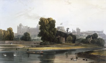 Windsor Castle from the River Thames at Eton, c1827-30. Creator: William Daniell (1769-1837).