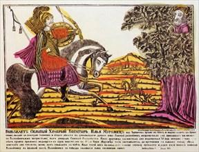 'Ilya Muromets and Nightingale the Robber', Lubok print, 18th century. Artist: Unknown