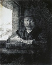 'Self-Portrait Drawing by a Window', 1648.  Artist: Rembrandt Harmensz van Rijn