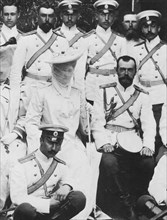 Tsar Nicholas II and Tsarina Alexandra Fyodorovna of Russia with a group of army officers, c1904. Artist: Unknown
