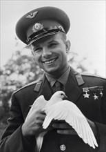 Yuri Gagarin, Russian cosmonaut, c1963-c1964. Artist: Unknown