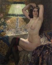 By the Green Lamp. Artist: Bogdanov-Belsky, Nikolai Petrovich (1868-1945)