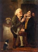 At the dentist. Artist: Braekeleer, Ferdinand de, the Elder (1792-1883)