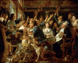The Feast of the Bean King, ca 1640-1645. Artist: Jordaens, Jacob (1593-1678)