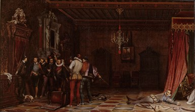 The assassination of the Duke of Guise at the château of Blois in 1588, 1834. Artist: Delaroche, Paul Hippolyte (1797-1856)