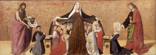 The Virgin of Mercy of the Cadard Family, 1453. Artist: Quarton (or Charonton), Enguerrand (ca 1410?ca 1466)