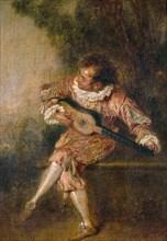 Mezzetino, ca 1715. Artist: Watteau, Jean Antoine (1684-1721)