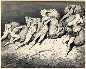 The hoarders and wasters. Illustration to the Divine Comedy by Dante Alighieri, 1857. Artist: Doré, Gustave (1832-1883)
