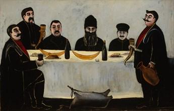 Six Princes (Feast), 1905-1907. Artist: Pirosmani, Niko (1862-1918)