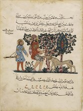 Greek physician Erasistratos with an Assistant (Folio from an Arabic translation of the Materia Medica by Dioscorides), 1224. Artist: Central Asian Art