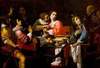 Death Comes to the Banquet Table (Memento Mori), c. 1635. Artist: Martinelli, Giovanni (1604-1659)
