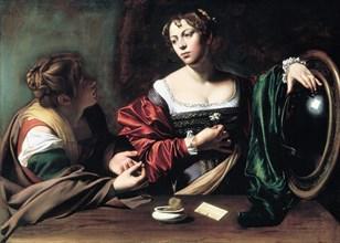 Martha and Mary Magdalene, c. 1598. Artist: Caravaggio, Michelangelo (1571-1610)