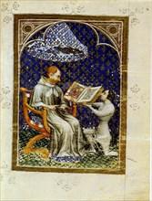 Jean de Vaudetar presents his gift of a book to Charles V of France. (From the Bible historiale of Jean de Vaudetar), 1372. Artist: Bondol, Jan (active 1368-1381)