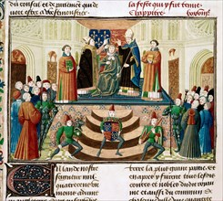 The Coronation of Henry IV of England (Detail of a miniature from the Grandes Chroniques de France by Jean Froissart), ca 1470. Artist: Anonymous