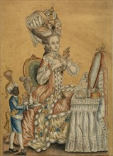 Lady at a Toilette with a black boy, 1770s. Artist: Anonymous