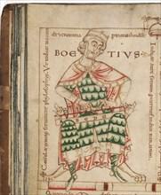Anicius Manlius Severinus Boethius (From: De institutione musica by Boethius), 12th century. Artist: Anonymous