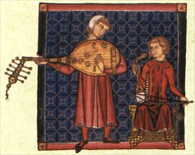 Two minstrels. Illustration from the codex of the Cantigas de Santa Maria, c. 1280. Artist: Anonymous