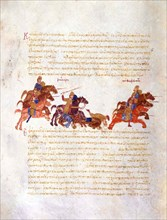 Pursuit of Sviatoslav's warriors by the Byzantine army (Miniature from the Madrid Skylitzes), 11th-1 Artist: Anonymous