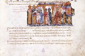 Grand Princess Olga visiting Constantine VII (Miniature from the Madrid Skylitzes), 11th-12th centur Artist: Anonymous