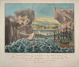 View of the Island of St. Helena from the side of the landing place near the Fort James, 1815. Artist: Anonymous
