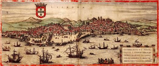 View of Lisbon and Tagus River (From: Civitates Orbis Terrarum), 1572. Artist: Hogenberg, Frans (1535-1590)