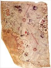 The Piri Reis world map, 1513. Artist: Piri Reis (1470-1553)